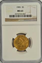 Choice BU 1905 US $5 Liberty Gold Piece. NGC MS63