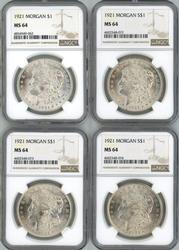 Wholesale dealer lot of 4 1921 Morgan Dollars. NGC MS64