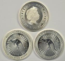 3 Gem Prooflike BU 2016 pure .999 silver Australia $1's