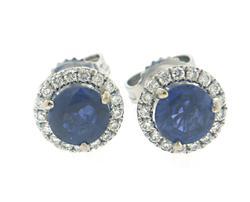 Stylish Sapphire and Diamond Halo Earrings