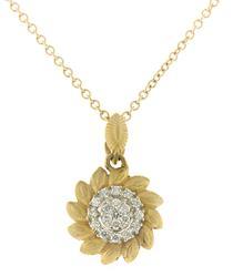Stunning Pave Diamond Flower Necklace