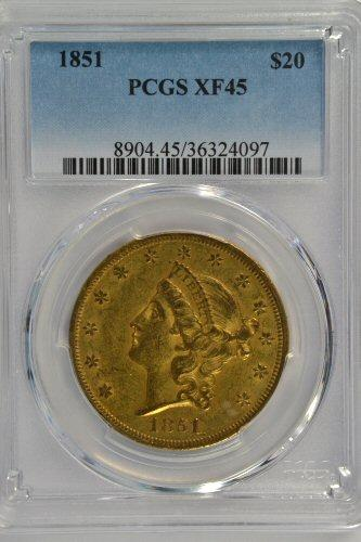 Scarce Choice XF45 1851 Ty 1 $20 Liberty Gold PCGS XF45