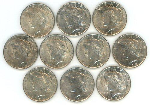 Half Roll of ten (10) mixed Peace Silver Dollars