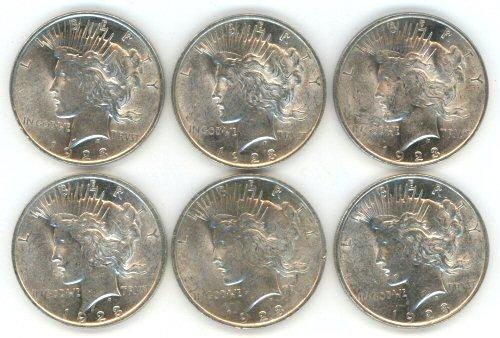 6 Slider/BU 1923 Peace Silver Dollars. Nice