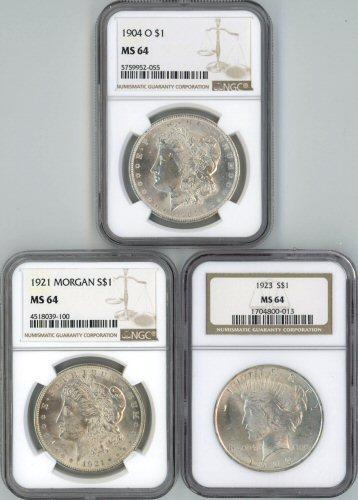 NGC MS64 graded 1904-O, 1921, & 1923 Silver Dollars