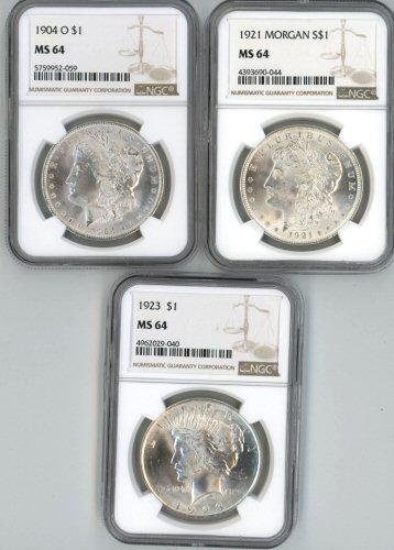 NGC MS64 graded 1904-O, 1921, & 1923 Silver Dollars