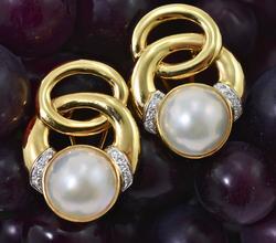 Beautiful Mabe Pearl & Diamond 14K Earrings