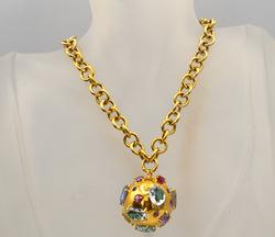 Gold Ball Pendant and Chain