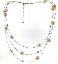 Multi Strand Color Pearl Necklace