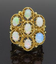 14K Yellow Gold Crystal Opal Cocktail Ring