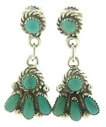 Vintage Turquoise Dangle Fan Earrings