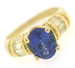 Charming Tanzanite & Baguette Diamond Ring