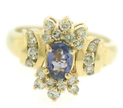 Gorgeous Oval Tanzanite and Diamond Accent Ring