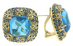 Gorgeous Blue Topaz & Sapphire w Diamond Earrings