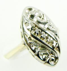 Vintage 14K Navette Diamond Studded Ring, Size 5
