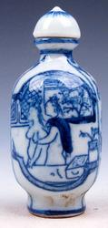 Porcelain Blue & White Exotic Figurines Snuff Bottle