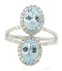 Fantastic Aquamarine and Diamond Halo Ring