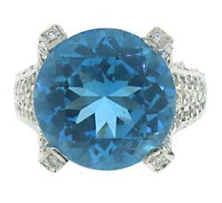 Gorgeous Round Blue Topaz and Diamond Ring