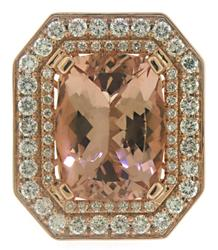 Shimmering Morganite and Diamond Double Halo Ring