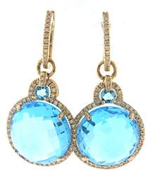 Pretty Blue Topaz and Diamond Halo Dangle Earrings