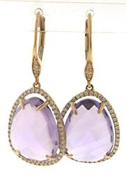Fabulous Amethyst and Diamond Halo Dangle Earrings