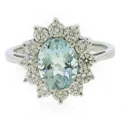 Fabulous Oval Aquamarine and Diamond Halo Ring