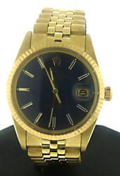 Rolex Blue Dial Men's 34mm Yellow Gold Watch