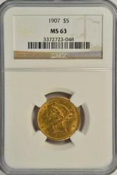 Choice BU 1907 US $5 Liberty Gold Piece. NGC MS63
