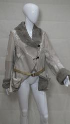 Labyrinth Grey Leather Mink Coat
