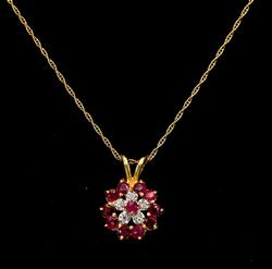 Ruby & Diamond Pendant with Chain. 14KT Yellow Gold