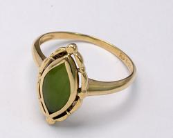 Oblong Green Stone Ring in Yellow Gold