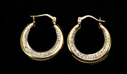 Yellow Gold Hoops Adorned with CZs