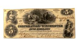 Confederate States $5 Corporation of Winchester $ 5 Note 1862