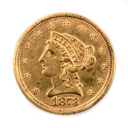 1873  US $2.50 Gold Liberty Quarter Eagle.