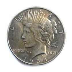 1934 Peace Dollar Lightly Toned