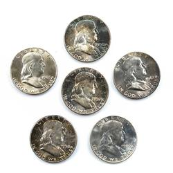 6 Choice White And Toned BU Franklin Halves