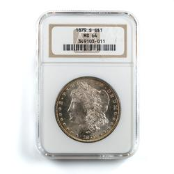 1879 S &1885 Frosty White BU MS 64 NGC Morgan Dollars