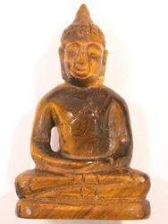 Tigerseye Gemstone Carved Thai Buddha Statue Amulet