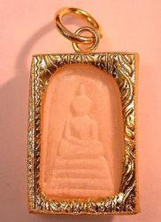Carved Bone Buddha Gold Amulet Pendant