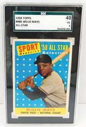 1958 Willie Mays All-Star Baseball Card, Graded