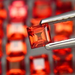 Fiery 9.74ct set of 3mm matched Spessartite Garnets