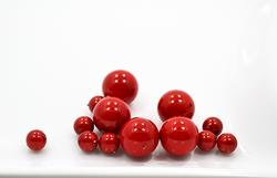 Red Shell Pearls, 13 Count: 12 and 6mm Round Beads