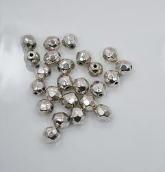 Silver Tone Faceted Round Pewter Beads, 24 Ct. 9 x 9mm