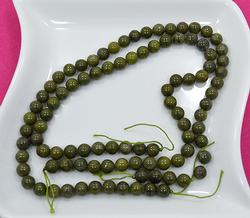 Moss Green Pyrite Stone, 96 Count 8mm Round Beads