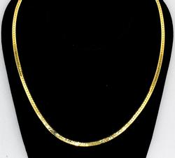 14KT Yellow Gold Herringbone Necklace, 24 Inches.