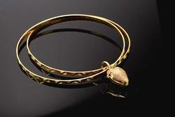 Unique 18KT Gold Bangles with Strawberry Charm