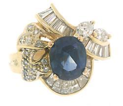Elegant Blue Sapphire and Diamond Ring