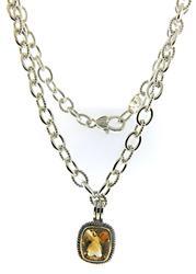 Judith Ripka Citrine Enchancer on Link Necklace