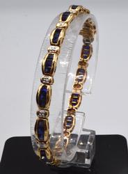 Solid Yellow Gold & Sapphire Tennis Bracelet