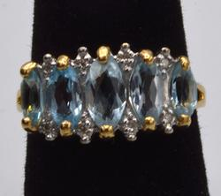 14kt Gold Blue Topaz & Diamond Ring